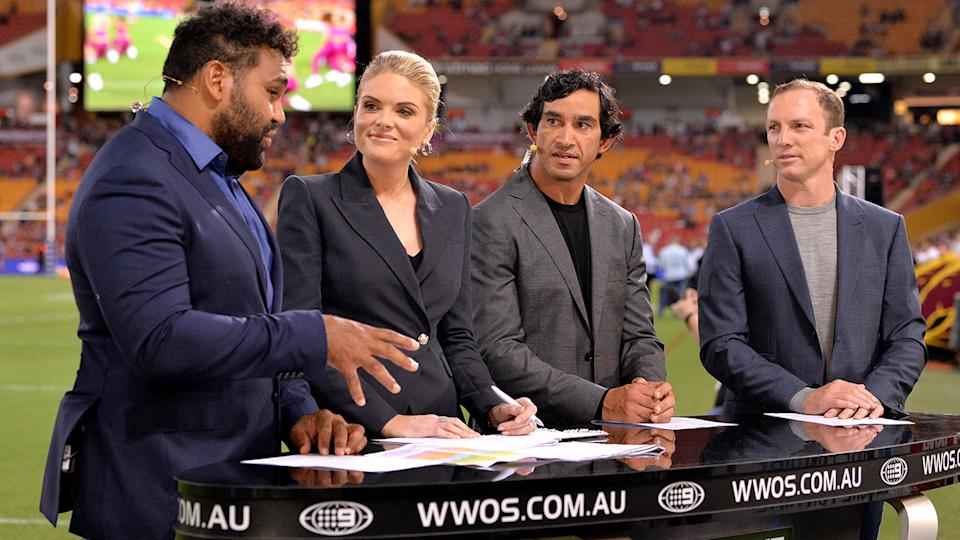 Sam Thaiday, Erin Molan, Jonathan Thurston and Darren Lockyer, pictured here in commentary for Channel Nine.