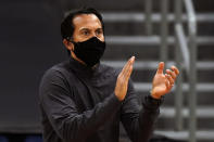 Miami Heat head coach Erik Spoelstra reacts during the first half of an NBA basketball game against the Toronto Raptors Wednesday, Jan. 20, 2021, in Tampa, Fla. (AP Photo/Chris O'Meara)