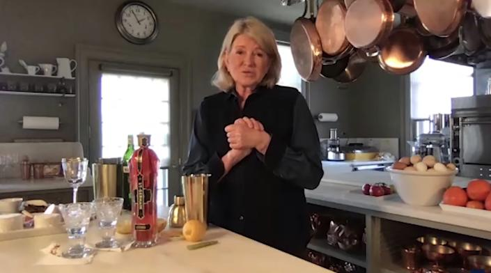 Martha Stewart made martinis from her home kitchen.