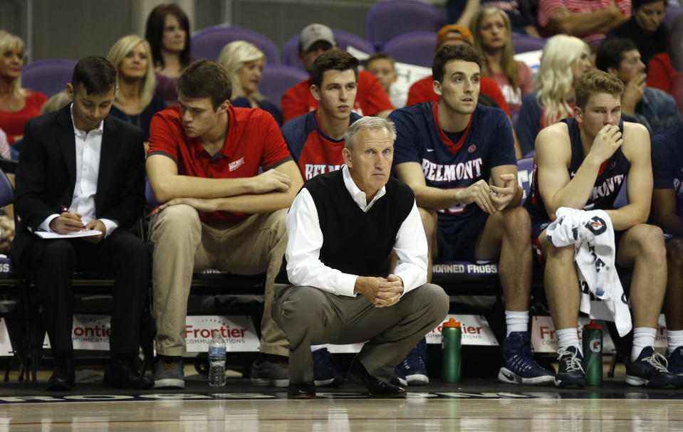 Belmont head coach Rick Byrd looks on against TCU during the second half of an NCAA college basketball game Wednesday, Nov. 29, 2017, in Fort Worth, Texas. TCU won 87-76. (AP Photo/Ron Jenkins)