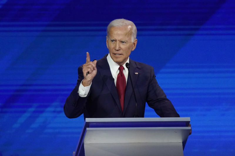 Former Vice President Joe Biden responds to a question Thursday, Sept. 12, 2019, during a Democratic presidential primary debate hosted by ABC at Texas Southern University in Houston. (AP Photo/David J. Phillip)