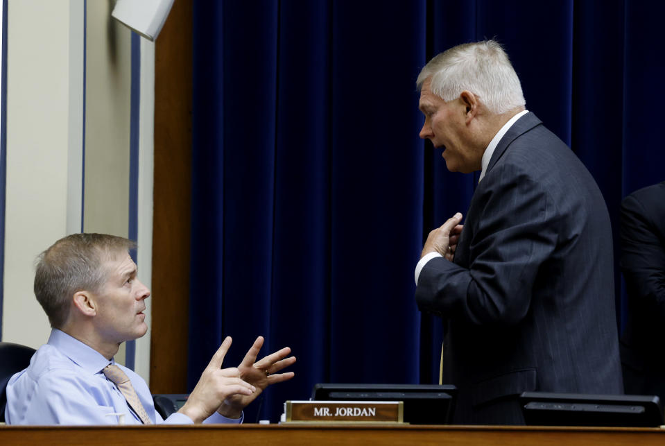 Rep. Jim Jordan, R-Ohio, speaks with Rep. Pete Sessions, R-Texas,during a House Oversight and Reform Committee regarding the on Jan. 6 attack on the U.S. Capitol, on Capitol Hill in Washington, Wednesday, May 12, 2021. (Jonathan Ernst/Pool via AP)