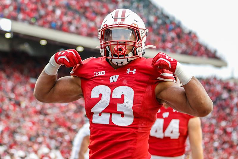 MADISON, WI - OCTOBER 12: Wisconsin running back Jonathan Taylor (23) celebrates a touchdown during a Big Ten college football game between the University of Wisconsin Badgers and the Michigan State University Spartans on October 12, 2019 at Camp Randall Stadium in Madison, WI. (Photo by Lawrence Iles/Icon Sportswire via Getty Images)