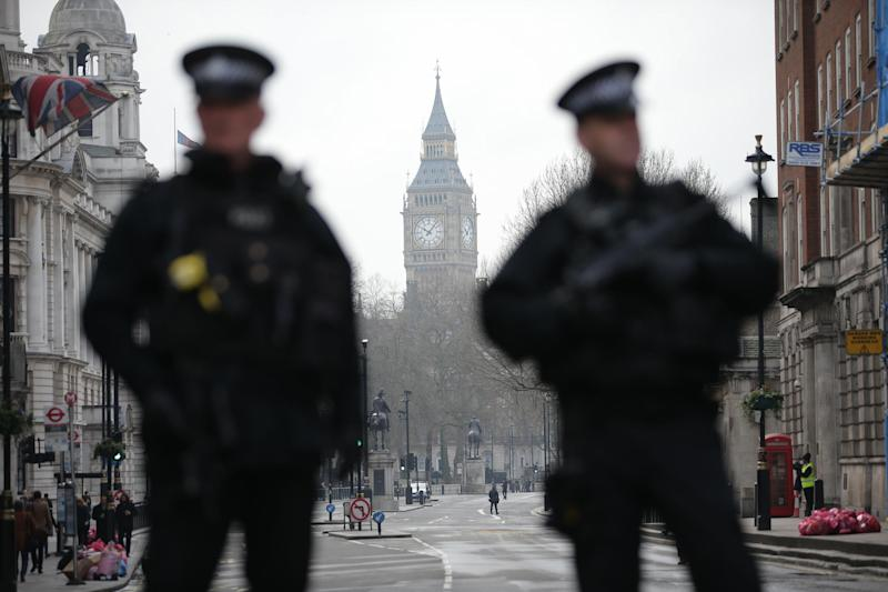 Officers guard Westminster in the wake of Wednesday's attack: AFP/Getty