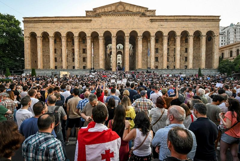 Georgians began protesting in front of the Parliament building in Tbilisi last week