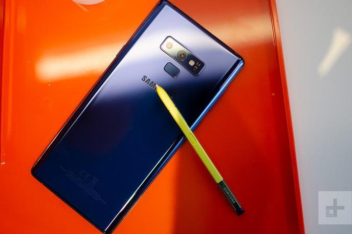 Galaxy Note 9 blue with yellow stylus
