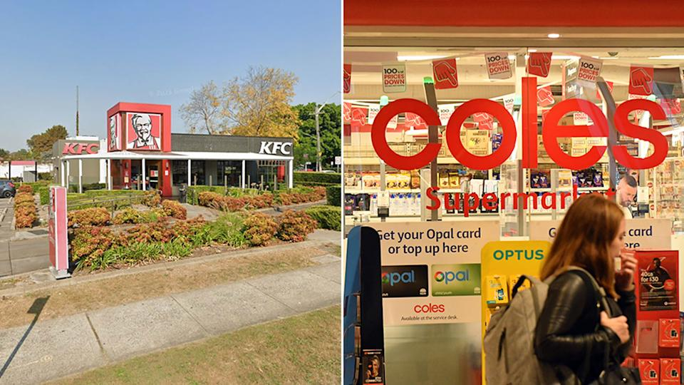 Pictured is KFC and Coles.