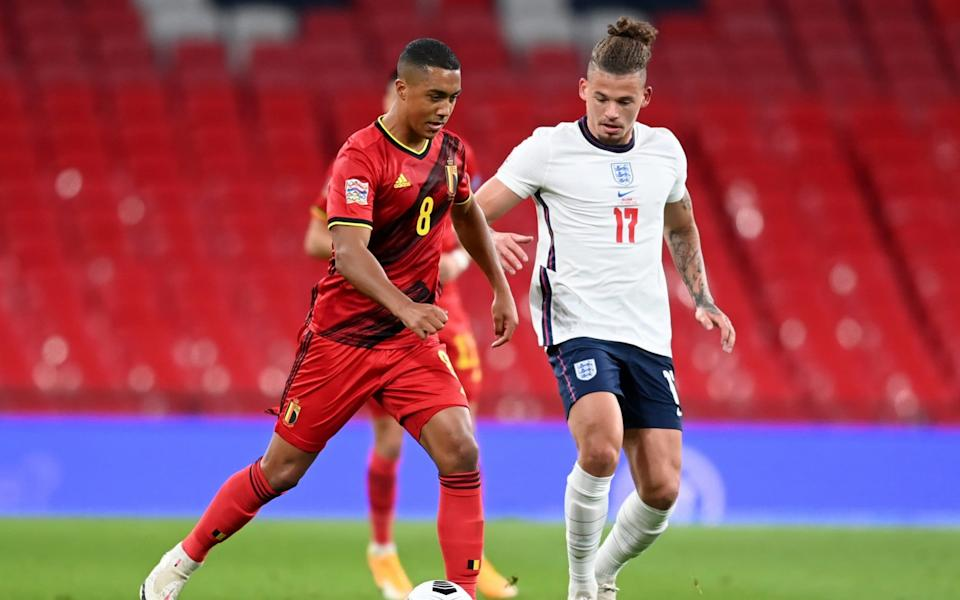 Belgium's Youri Tielemans in action with England's Kalvin Phillips - POOL VIA REUTERS