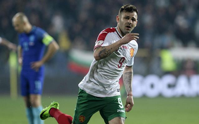 <span>Spas Delev was Bulgaria's hero with two goals</span> <span>Credit: AFP </span>