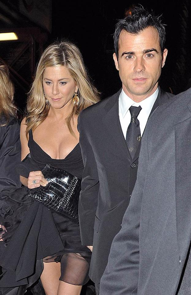 "Jennifer Aniston and Justin Theroux are headed for a split, reports In Touch, which says the actress is ""driving Justin crazy"" with her ""neurotic, high-maintenance behavior."" Aniston has even instituted a ""sex ban"" in their relationship, reveals the mag. For the surprising reason she's withholding sex, and when Theroux's going to break things off, click over to <a target=""_blank"" href=""http://www.gossipcop.com/jennifer-aniston-sex-ban-justin-theroux-break-up-split-fighting/"">Gossip Cop.</a> (11/07/11)"