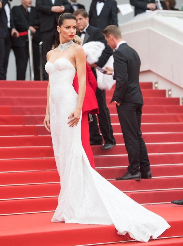 "<p>Adriana Lima looked like she was about to say ""I do"" in a white strapless dress. Funny enough, the Victoria's Secret model's gown came from Naeem Khan's recent bridal collection. (Photo: Samir Hussein/WireImage) </p>"