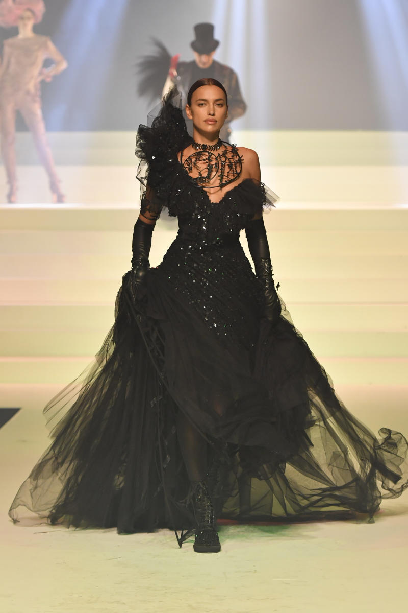 Irina Shayk walks the runway during the Jean-Paul Gaultier Haute Couture Spring/Summer 2020 fashion show as part of Paris Fashion Week at Theatre Du Chatelet on January 22, 2020 in Paris, France.