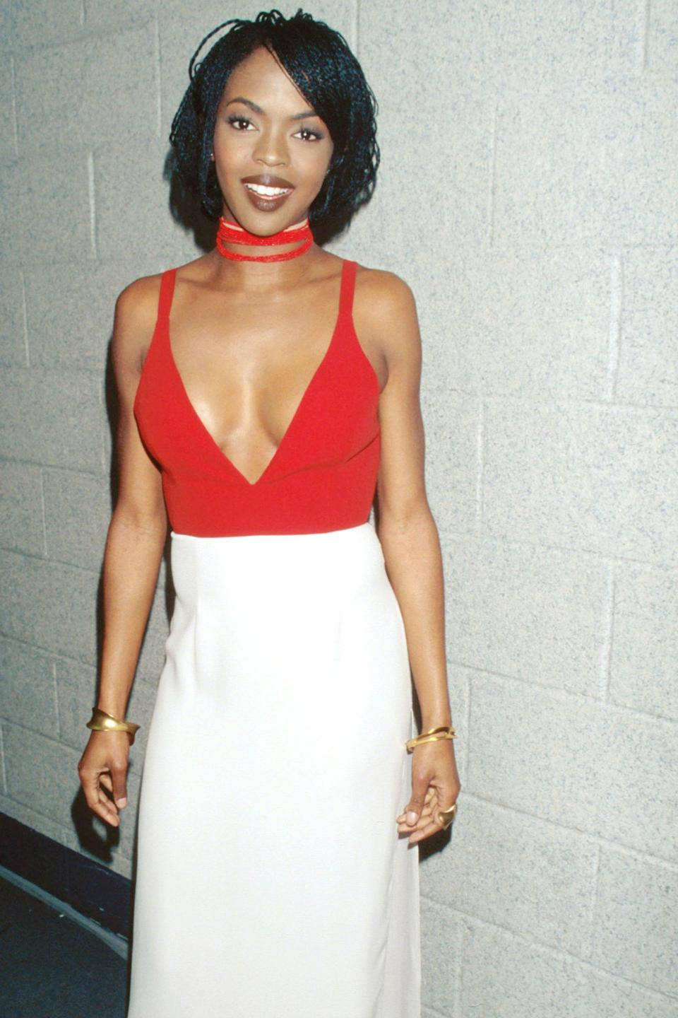 """<h2>Lauryn Hill, 1997</h2><br>Laid-back and sophisticated, this red-and-white dress was the winner at the 1997 Grammys red carpet. <span class=""""copyright"""">Photo: Kevin Mazur/WireImage.</span>"""
