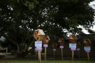 Wooden hotel for solitary bees made by AMVA in Barbosa