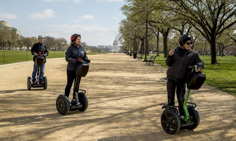 A Segway tour group on the Mall in Washington DC.