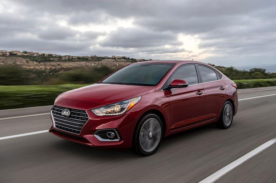 """<p>Hyundai put a new 1.6-liter inline-four with a CVT in the new <a href=""""https://www.caranddriver.com/hyundai/accent"""" rel=""""nofollow noopener"""" target=""""_blank"""" data-ylk=""""slk:Hyundai Accent"""" class=""""link rapid-noclick-resp"""">Hyundai Accent</a>, which trades 10 fewer horsepower for a 4-mpg improvement in EPA combined fuel economy. This may be the smallest commuter in the Hyundai lineup, but the Accent is still light enough to be fun to drive and quick enough to make the tires squeal. A 5.0-inch touchscreen is standard, but paying extra for the higher SEL and Limited trims that deliver a larger screen could be worth the few hundred bucks extra. We've ranked the Accent above any other subcompact sedan in the segment. </p><ul><li>Base Price: $16,125</li><li>Fuel Economy EPA combined/city/highway: 36/33/41 mpg</li><li>Horsepower: 120 hp</li></ul><p><a class=""""link rapid-noclick-resp"""" href=""""https://www.caranddriver.com/hyundai/accent/specs"""" rel=""""nofollow noopener"""" target=""""_blank"""" data-ylk=""""slk:MORE ACCENT SPECS"""">MORE ACCENT SPECS</a></p>"""
