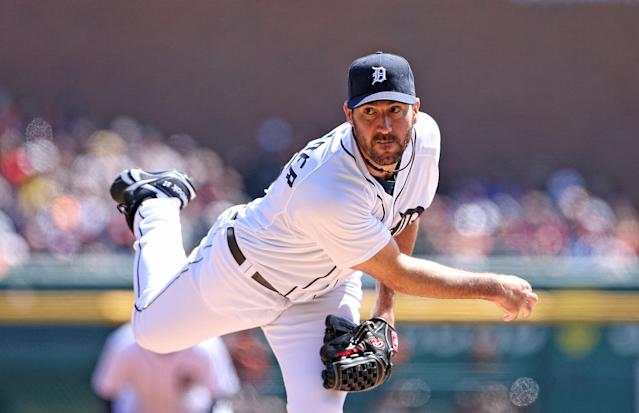 DETROIT, MI - APRIL 06: Justin Verlander #35 of the Detroit Tigers pitches in the second inning of the game against the Baltimore Orioles at Comerica Park on April 6, 2014 in Detroit, Michigan. (Photo by Leon Halip/Getty Images)