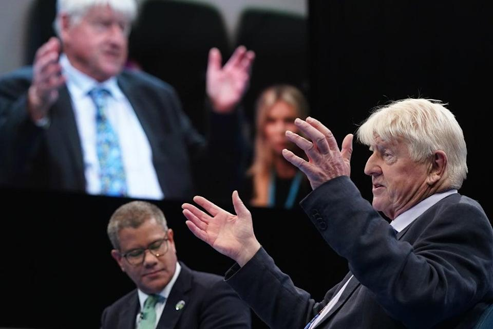 Stanley Johnson chat with Alok Sharma at the Conservative Party Conference (Stefan Rousseau/PA) (PA Wire)