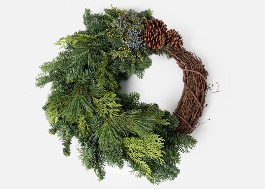 <p>This <span>UrbanStems The Chestnut</span> ($85) wreath is modern and unique.</p>