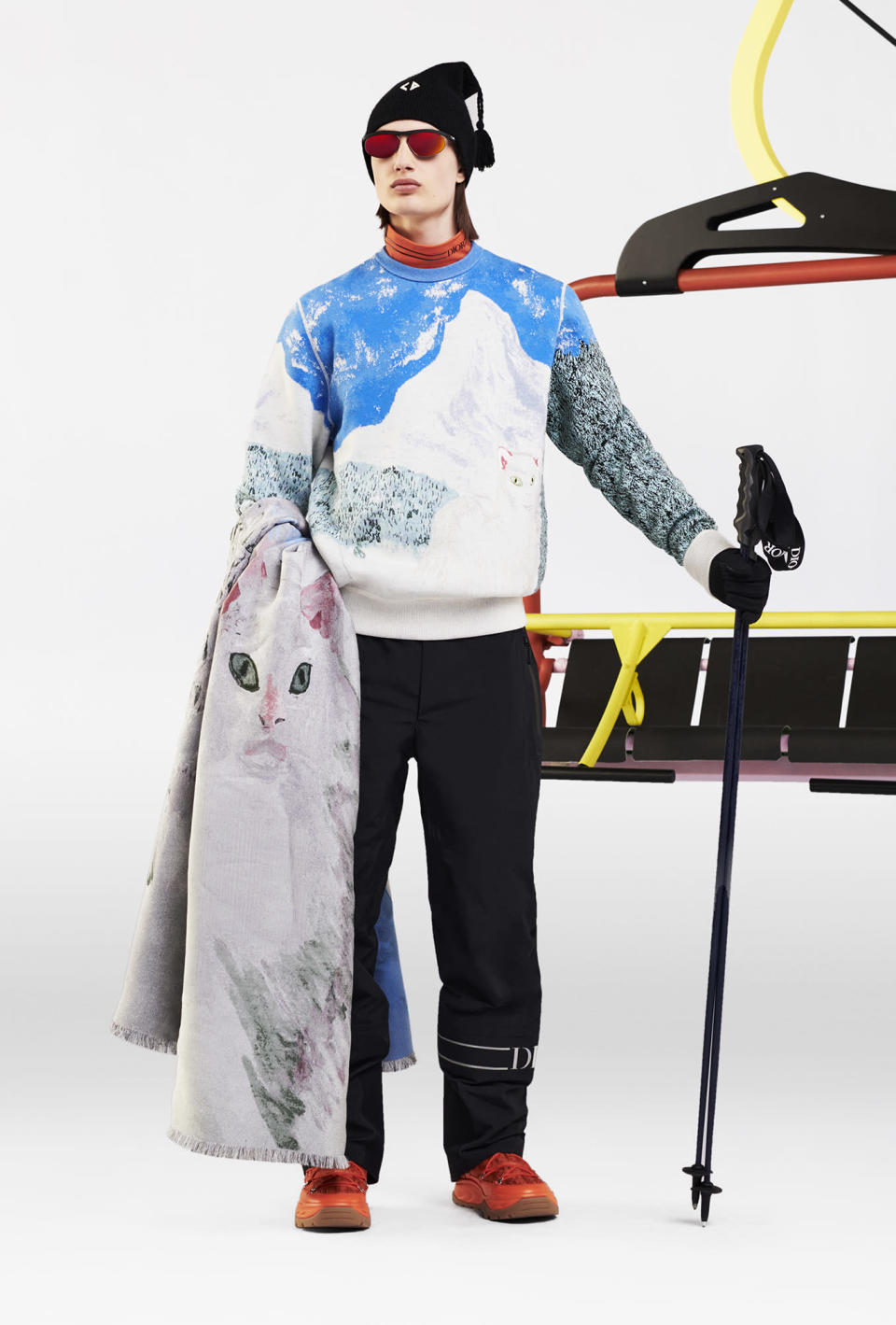A look from Dior's men's ski capsule line designed with Peter Doig. - Credit: Brett Lloyd/Courtesy of Dior