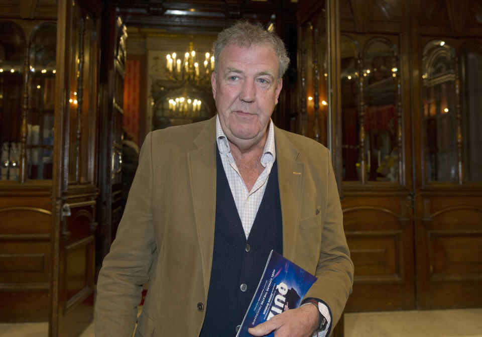 """Jeremy Clarkson leaves the Noel Coward Theatre in London after watching a performance of """"Quiz"""". (Photo by PA Images via Getty Images)"""