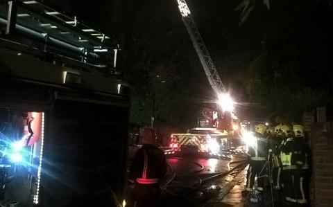 Firefighters tackle the blaze in Hampstead - Credit: London Fire Brigade/Twitter
