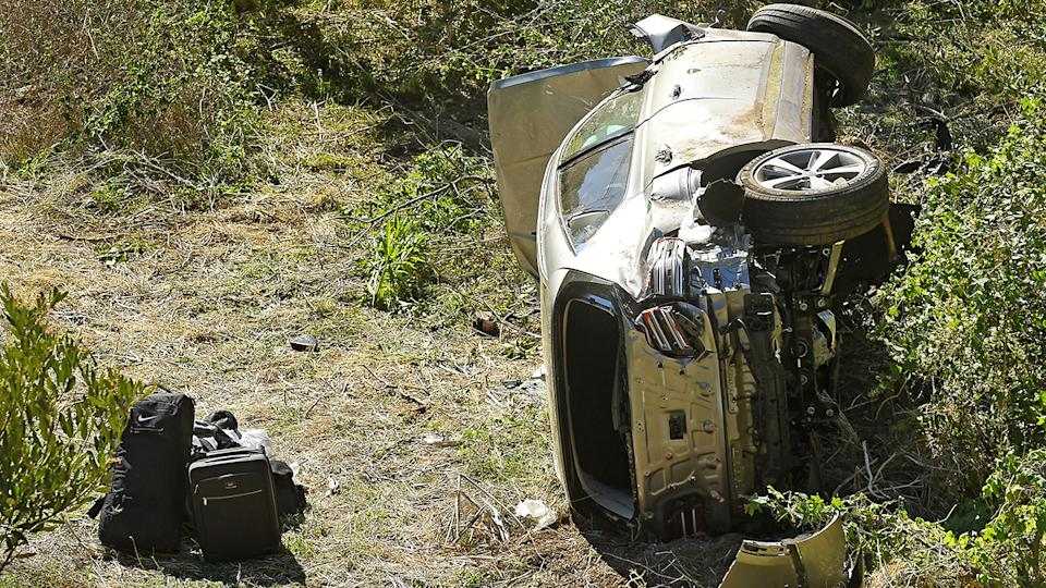 Tiger Woods' mangled car, pictured here after the high-speed crash.