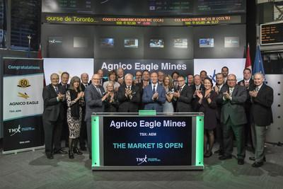 Sean Boyd, Vice-Chair & CEO, Agnico Eagle Mines Limited (AEM), joined Lou Eccleston, CEO, TMX Group, to open the market to celebrate 60 years listed on Toronto Stock Exchange. Agnico Eagle is a senior Canadian gold mining company that has produced precious metals since 1957. Its eight mines are located in Canada, Finland and Mexico, with exploration and development activities in each of these countries as well as in the United States and Sweden. Agnico Eagle Mines Limited commenced trading on Toronto Stock Exchange on December 27, 1957. (CNW Group/TMX Group Limited)