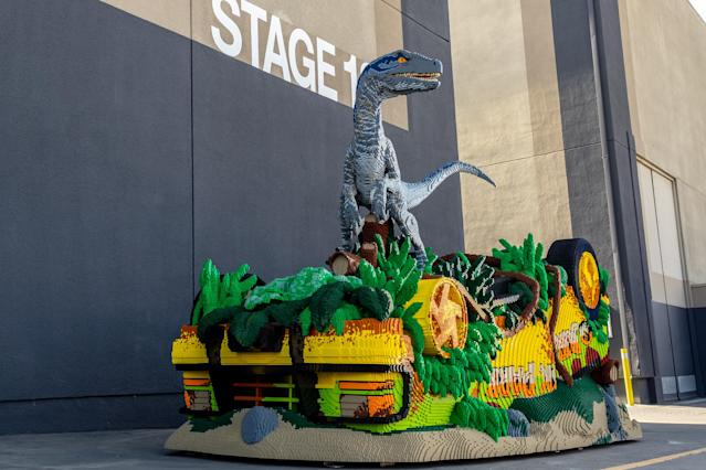 Visitors to Universal Studios Hollywood can catch a glimpse of this Lego re-creation of a key scene from <em>Jurassic World: Fallen Kingdom.</em>(Photo: Courtesy of the Lego Group)