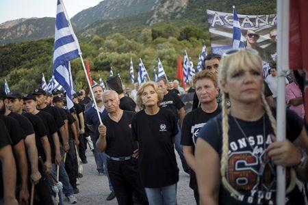 Golden Dawn supporters attend a ceremony in Thermopylae, outside Athens, Greece, September 5, 2015.  REUTERS/Fotis Plegas G.