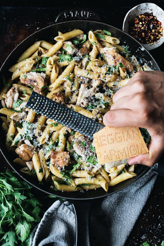 "<p>Creamy, cheesy, chicken pasta—what's not to love? This cozy 25-minute meal from <a href=""http://www.foodgays.com/"">The Food Gays</a> is sure to become your new go-to this Fall.</p> <p><a href=""https://www.myrecipes.com/recipe/caramelized-onion-mushroom-and-chicken-penne"">Caramelized Onion, Mushroom and Chicken Penne Recipe</a></p>"