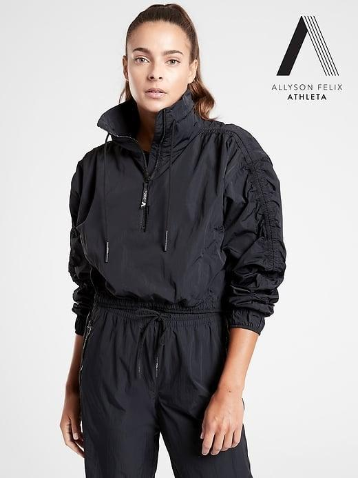 "<p>This <span>Athleta Legend Crop Half-Zip Jacket</span> ($60, originally $169) - from the <a href=""https://www.popsugar.com/fitness/allyson-felix-new-athleta-collection-47704112"" class=""link rapid-noclick-resp"" rel=""nofollow noopener"" target=""_blank"" data-ylk=""slk:exclusive Allyson Felix + Athleta limited-edition collection"">exclusive Allyson Felix + Athleta limited-edition collection</a> - can make you feel like an Olympian, too . . . even if you're just jogging or hiking instead.</p>"
