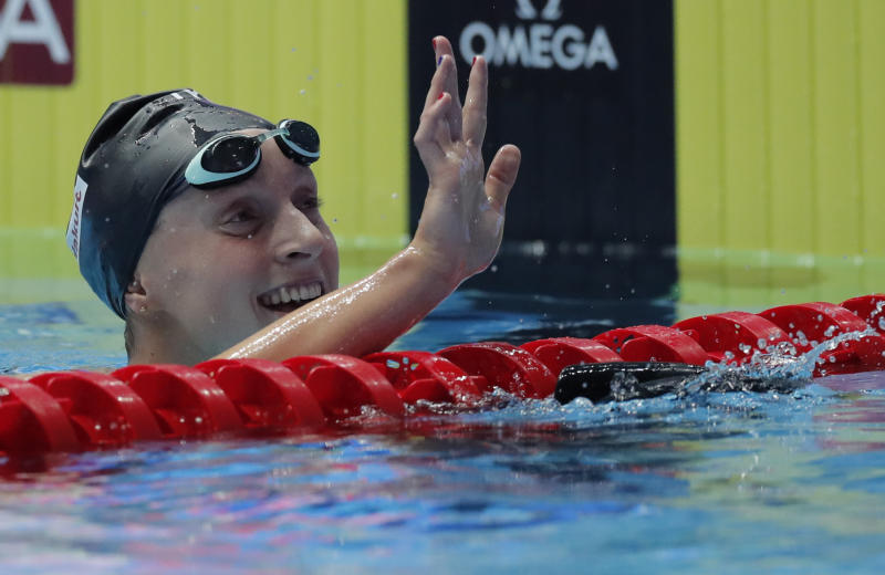 Following a seven-hour hospital visit after falling ill, Katie Ledecky rallied back on Saturday to win the 800-meter freestyle at the world championships in South Korea.