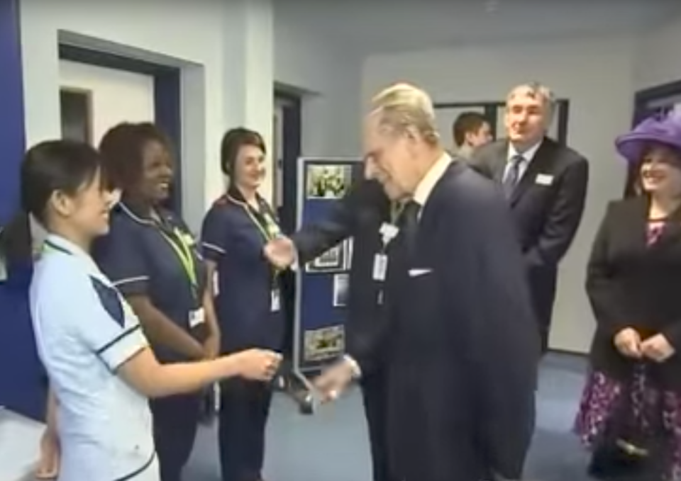 """<p>The Duke of Edinburgh said """"The Philippines must be half empty as you're all here running the NHS"""" when he met a Filipino nurse at Luton hospital in February 2013. <a rel=""""nofollow noopener"""" href=""""https://www.youtube.com/watch?v=EP2RMvPpIsw"""" target=""""_blank"""" data-ylk=""""slk:(The Telegraph video"""" class=""""link rapid-noclick-resp"""">(The Telegraph video</a>) </p>"""