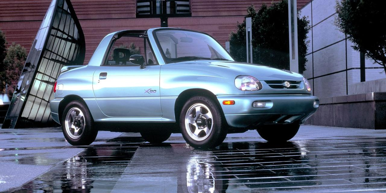 """<p>The X-90 is as fun as any micro-4x4 out there, but it's hard not to see it as an ultra-tall Honda Del-Sol with some wacky proportions. We'd go for <a href=""""https://www.roadandtrack.com/car-culture/classic-cars/a23597193/1986-suzuki-samurai-for-sale/"""" target=""""_blank"""">a Jimny</a> instead. </p>"""