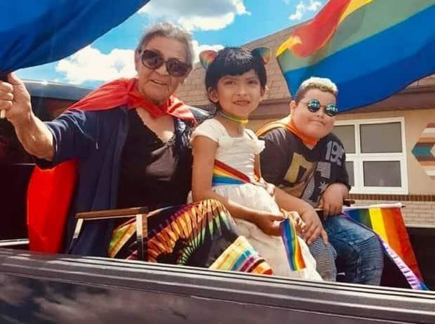 Suzanne Seeseequasis said she used to worry about people bullying or laughing at Reece, her great-grandchild. Today, she is one of her biggest fans. Here she is pictured alongside Reece at the  Beardy's and Okemasis two-spirit Pride festival.