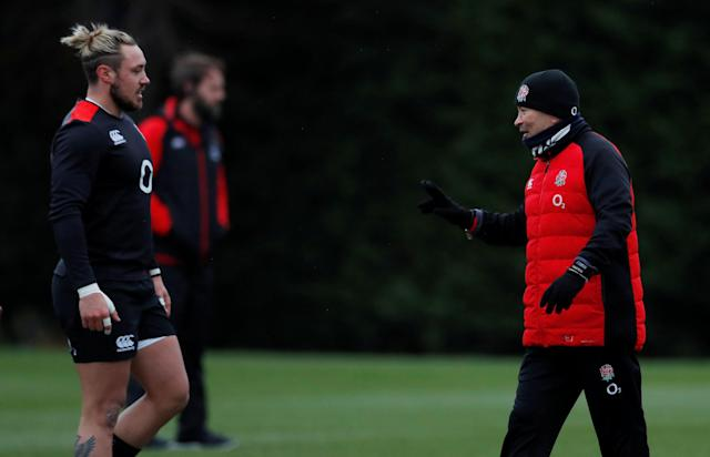 Rugby Union - England Training - Latymer Upper School, London, Britain - February 14, 2018 England head coach Eddie Jones speaks with Jack Nowell during training Action Images via Reuters/Andrew Couldridge