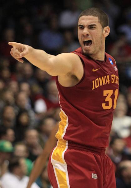 Iowa State forward Georges Niang points to a teammate in the first half of a second-round game against Notre Dame at the NCAA college basketball tournament, Friday, March 22, 2013, in Dayton, Ohio. (AP Photo/Skip Peterson)