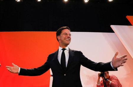 Dutch Prime Minister Mark Rutte of the VVD Liberal party appears before his supporters in The Hague