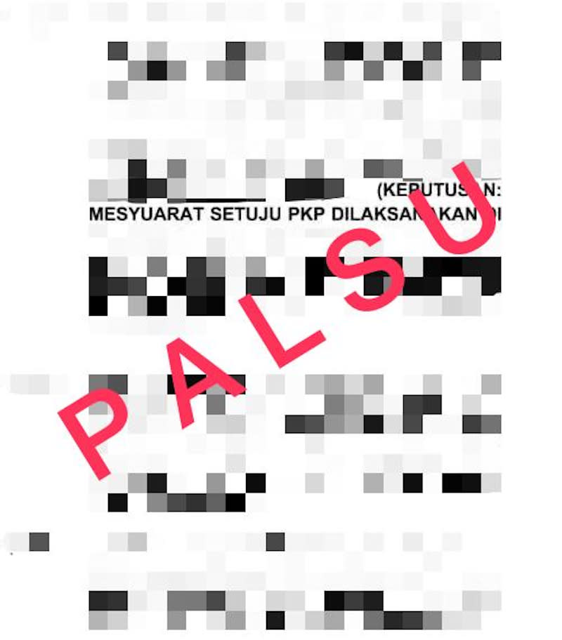 NSC said a document circulating online purportedly of government preparations to reintroduce the movement control order in several states is false. — Picture via Twitter/@MKNJPM
