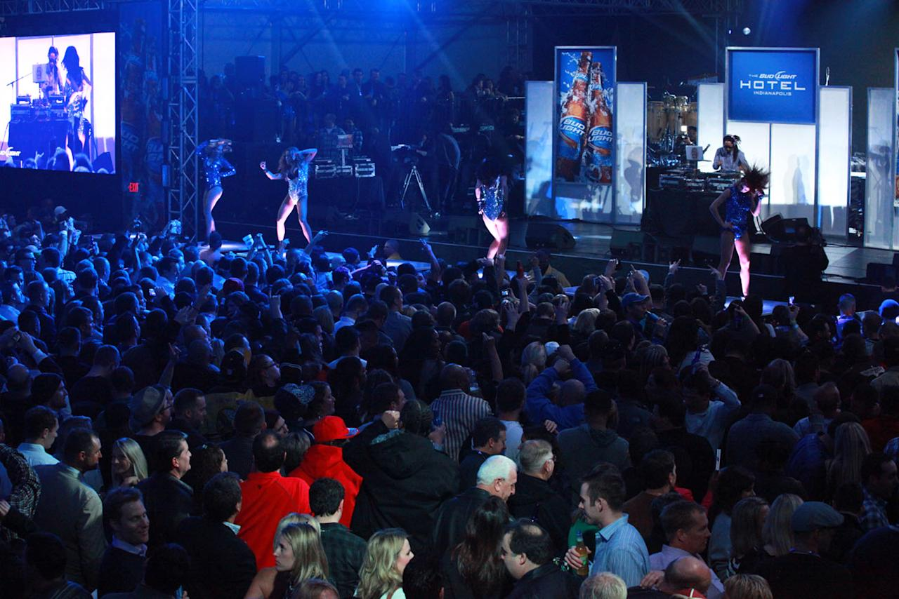 Partygoers at the Bud Light Hotel concert in Indianapolis.