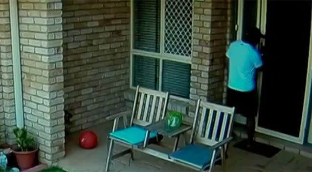 Not satisfied with his haul from the garage, the thief snuck in the front door and ransacked the home, just metres away from two young children watching a movie. Source: 7 News