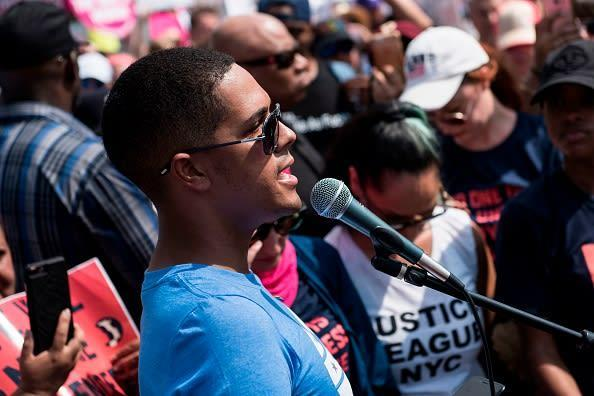 """<div class=""""inline-image__caption""""><p>Brandon Wolf, a survivor of the Pulse night club mass shooting, speaks during a protest about gun violence outside the National Rifle Association on July 14, 2017 in Fairfax, Virginia.</p></div> <div class=""""inline-image__credit"""">BRENDAN SMIALOWSKI/AFP via Getty Images</div>"""