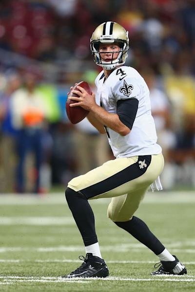 Ryan Griffin of the New Orleans Saints looks to pass the ball against the St. Louis Rams during the first half of their pre-season game, at the Edward Jones Dome in St. Louis, Missouri, on August 8, 2014 (AFP Photo/Dilip Vishwanat)