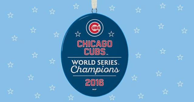 The Cubs World Series ornaments will be available in time for the holidays. (Hallmark)
