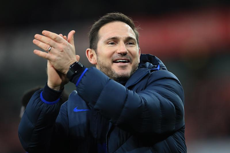 LONDON, ENGLAND - DECEMBER 29: Frank Lampard manager of Chelsea celebrates the win during the Premier League match between Arsenal FC and Chelsea FC at Emirates Stadium on December 29, 2019 in London, United Kingdom. (Photo by Marc Atkins/Getty Images)