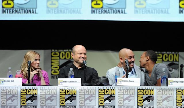 "SAN DIEGO, CA - JULY 19: (L-R) Actress Kristen Bell, actor Enrico Colantoni, actor Francis Capra and actor Percy Daggs III speak onstage at the ""Veronica Mars"" special video presentation and Q&A during Comic-Con International 2013 at San Diego Convention Center on July 19, 2013 in San Diego, California. (Photo by Kevin Winter/Getty Images)"