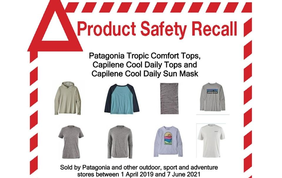 Product safety recall on Patagonia products.