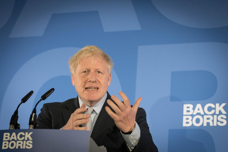 Boris Johnson during the launch of his campaign to become leader of the Conservative and Unionist Party and Prime Minister at the Royal Academy of Engineering in central London. (Photo by Stefan Rousseau/PA Images via Getty Images)