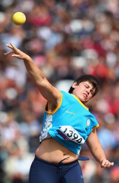 Mariia Pomazan of Ukraine competes in the Women's Shot Put — F35/36 Final on day 4 of the London 2012 Paralympic Games at Olympic Stadium on September 2, 2012 in London, England. (Photo by Michael Steele/Getty Images)
